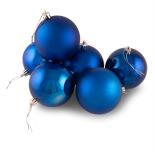 Set Holly mix 6 globuri Azul lucioase si mate, 8 cm, albastru