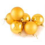 Set Holly mix 6 globuri Auriu lucioase si mate, 8 cm, aurii