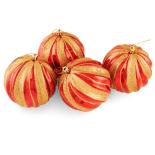 Set mix 4 globuri Holly decorate, lucioase si mate, 10 cm, rosu/auriu