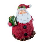 Figurina Mos Craciunm cu cadou Holly, polirasina, rosu, 7 x 5.8 x 8.5 cm