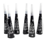 Set Eventy 6 trompete petrecere negru-argintiu, 19 cm