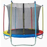 Trambulina ACTION® HQ 304 cm cu plasa de protectie interioara multicolora