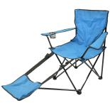 Scaun camping Zelten cu suport de picioare albastru 115x55x81cm