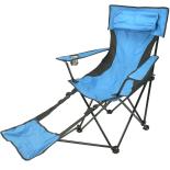 Scaun camping Zelten cu perna si suport de picioare albastru 118x55x88cm