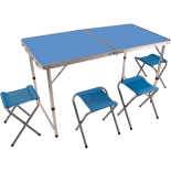 Set camping Zelten cu masa si 4 scaune albastru 120x60x55.5 cm