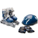 Set de role 27-30 cu casca si protectii pentru incepatori Action Basic Blue