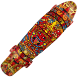 Penny Board cu roti luminoase 22, ABEC-7, PU, Aluminium, 90 KG Azteca