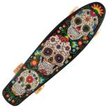 Penny Board cu roti luminoase portocalii, 22, ABEC-7, PU, Aluminium, 90 KG Santa Muerte