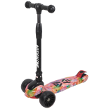 Scooter Jumbo Wheels Action One®, cu roti luminoase si late, Rainbow