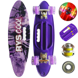 Penny board Action One® Portabil, PU, ABEC-7, Aluminiu, Rys Cool
