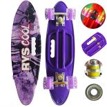 Penny board Action One® Portabil, PU, ABEC-7, Aluminiu, Rys Cool