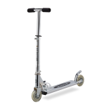 Trotineta Action One Aluminium Scooter cu 2 roti si cric, aluminiu, pliabila, argintiu, 77 x 25.5 x