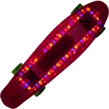 Skateboard Action One 22 cu bluetooth si roti luminoase, ABEC-7, rosu