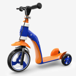 Trotineta, Tricicleta Action One, 2 in 1 Biker, albastru/portocaliu