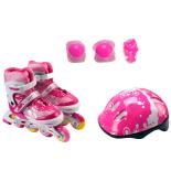 Set de role ActionOne Pinky, cu casca, protectii si geanta transport, reglabile, S (31-34), roz