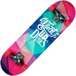 Skateboard Action One dublu print, aluminiu, 70 x 20 cm, multicolor, Whats Up Dudes