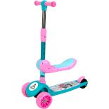 Trotineta ActionOne Popsicle, cu scaunel, roti luminoase si muzica, Pinky